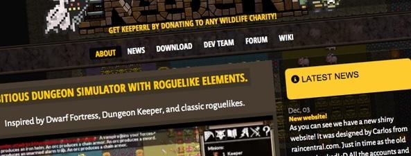 """Diseño web para el videojuego """"KeeperRL"""""""